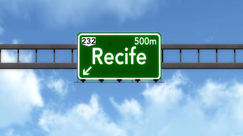 4K Passing Recife Brazil Highway Road Sign with Matte 2 stylized Animation