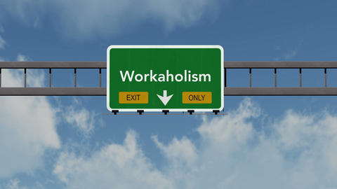 4K Passing Workaholic Exit Only Highway Sign with Matte 1 neutral Animation
