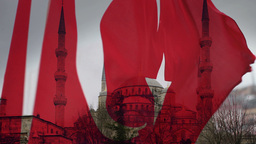 blue mosque turkish flag blowing Footage