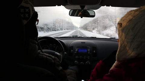 Winter driving on a snowy road in Finland Footage