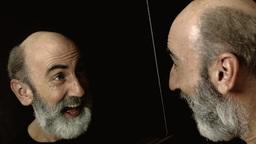 Bearded old man mirror happy Footage