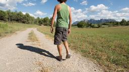 Walking Man Countryside Montserrat stock footage