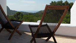 Deck Chairs Panoramic View Vacations Relaxation stock footage