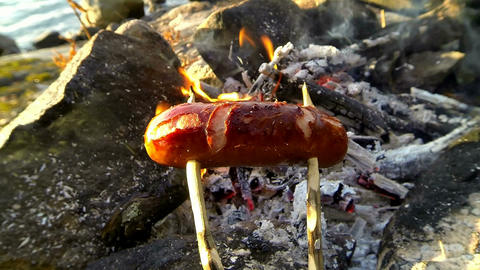 Sausage Grilling With A Wooden Stick Over A Campfire With Smoking Firewood stock footage