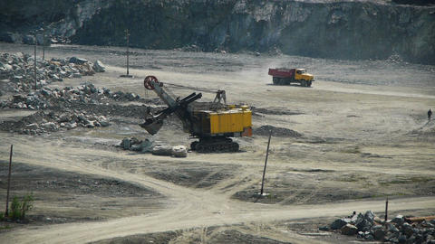 Coal mining in an open pit Stock Video Footage