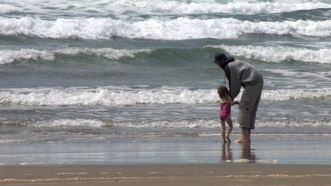 Father and Daughter on the Beach Stock Video Footage