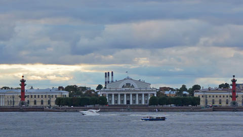 Old Saint Petersburg Stock Exchange and Rostral Co Stock Video Footage
