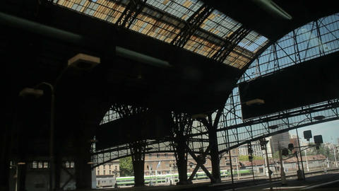 BA train station dutch angle Stock Video Footage