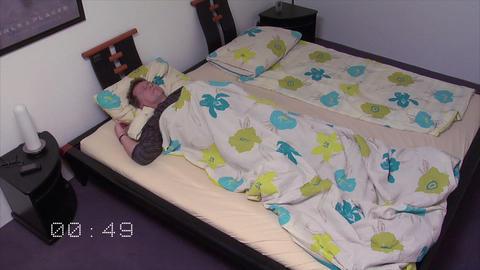 10657 sleepless sleep position time lapse wide clock Stock Video Footage