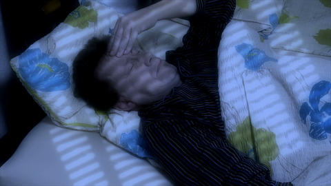 10659 man cant sleep headache Stock Video Footage