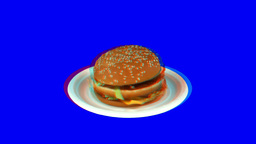 Stereoscopic 3D of rotating seemless looping Big Mac... Stock Video Footage
