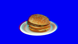 Stereoscopic 3D of rotating seemless looping Big Mac (Combo) 1 Footage