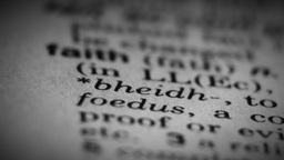 Faith word, dictionary definition Stock Video Footage