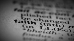 Faith word, dictionary definition Stock Video Footage