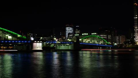 Time Lapse from kachidoki bridge,Tokyo,Japan Stock Video Footage