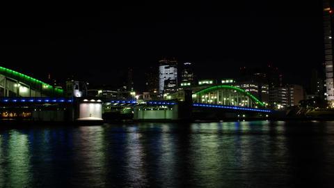 Time Lapse from kachidoki bridge,Tokyo,Japan Footage