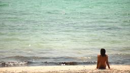 girl back beach01 Footage