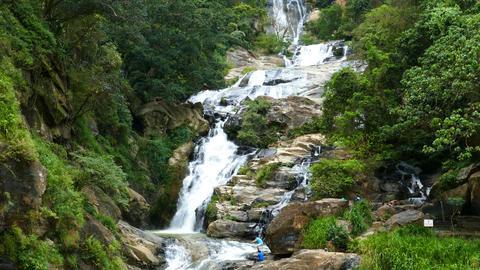 Waterfall Ella in Sri Lanka, tilt view Footage