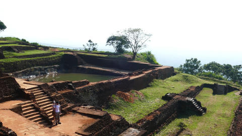 Ruins of fortress on top of Sigiriya Lion Rock Footage