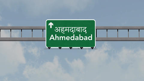 4K Passing Ahmedabad India Highway Road Sign with Matte 1 neutral Animation