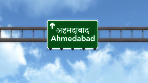 4K Passing Ahmedabad India Highway Road Sign with Matte 2 stylized Animation