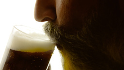 Beer silhouette beard close up thirst Footage