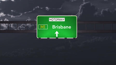 4K Passing Brisbane Australia Highway Sign at Night with Matte 1 neutral Animation