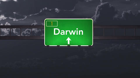 4K Passing Darwin Australia Highway Sign at Night with Matte 1 neutral Animation
