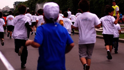 Children's Education in The Fight Against Obesity.Cross-Country Boy Fell-Off Footage