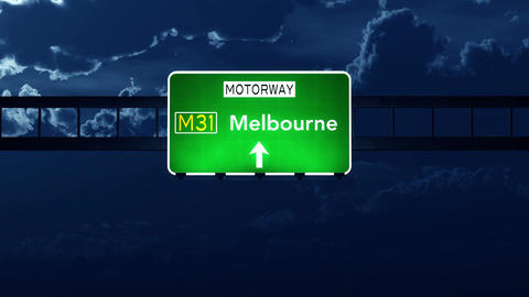 4K Passing Melbourne Australia Highway Sign at Night with Matte 2 stylized Animation