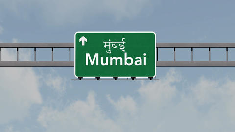 4K Passing Mumbai India Highway Road Sign with Matte 1 neutral Animation