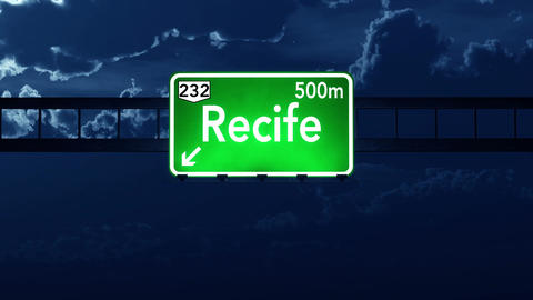 4K Passing Recife Brazil Highway Sign at Night with Matte 2 stylized Animation
