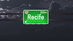 4K Passing Recife Brazil Highway Sign at Night with Matte 1 neutral Animation