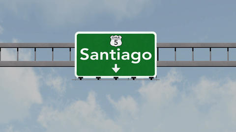 4K Passing Santiago Chile Highway Road Sign with Matte 1 neutral Animation