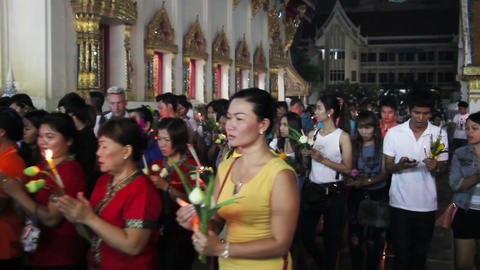 PATTAYA, THAILAND - JULY 11, 2014: Religious Ceremony In Buddhist Temple At Asal stock footage