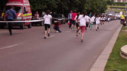Children's Education In The Fight Against Obesity. Cross-Country Girls Finish stock footage