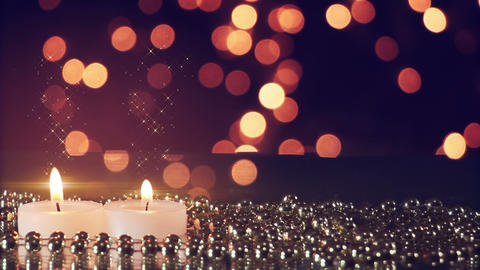 two candles and bokeh lights loopable romantic background Footage