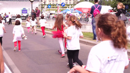 Children's Education In The Fight Against Obesity. Cross-Country Girls, Slow Mot stock footage