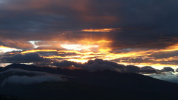 Pan shot of dramatic sunset in Tungurahua province, Ecuador Footage
