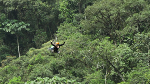 Couple On Zip Line HD stock footage