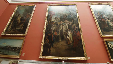 Paintings and art in the Hermitage of St. Petersburg Footage