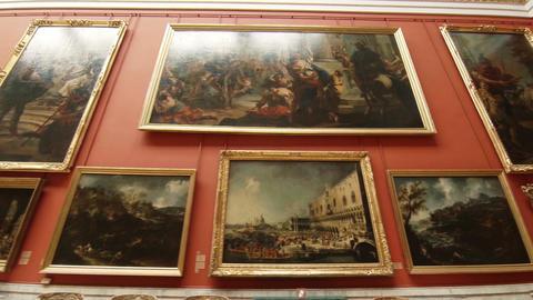 Paintings and art in the Hermitage of St. Petersburg Footage