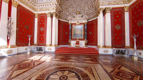 The throne of the emperor in State Hermitage Museum of St. Petersburg Footage