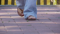 Feet lifestyle sandals walking Footage