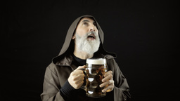 Friar big beer mug delicious share Footage