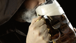 Friar big beer mug foam detail Footage