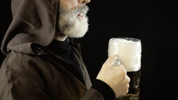 Friar Big Beer Mug Pleasure Profile stock footage