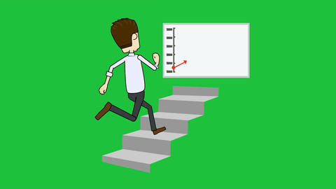 Climbing the Stairs to Success: (Loop + Matte) Animation