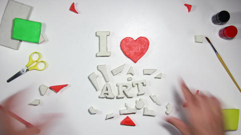 I love art sign stop motion animation 4k (4096x2304) Footage
