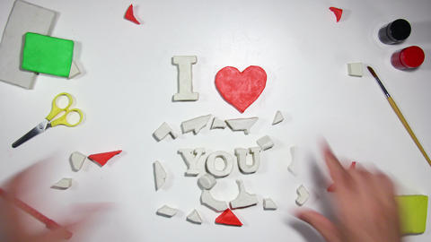 I love you sign stop motion animation 4k (4096x2304) Footage